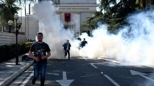 This was the latest in a series of anti-government protests outside Albania's parliament