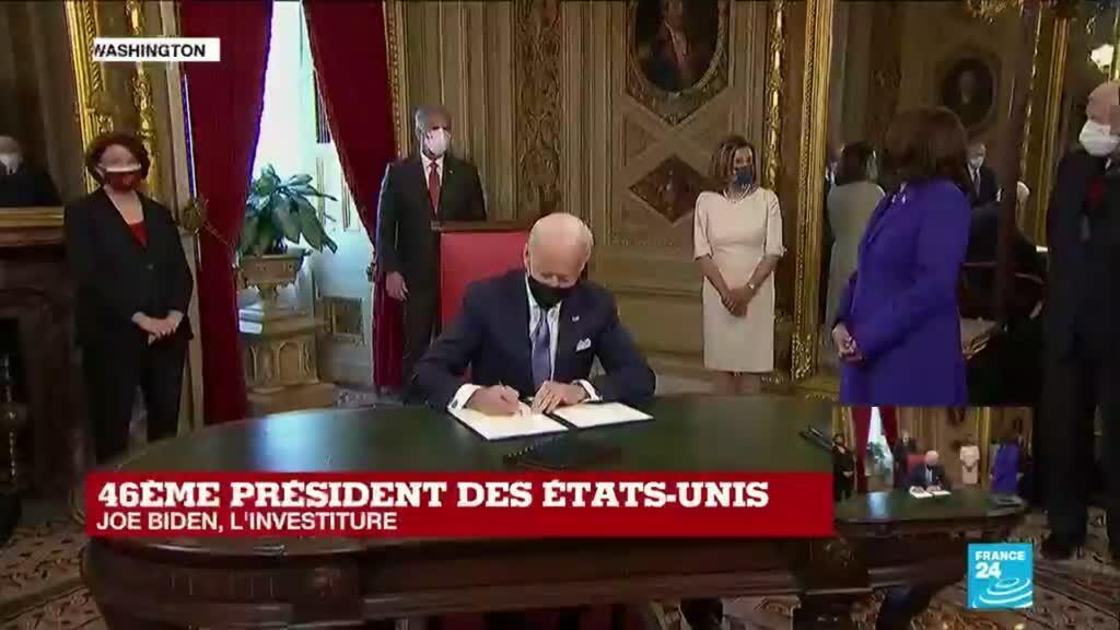 2021-01-20 19:23 Etats-Unis : Joe Biden signe ses premiers décrets présidentiels