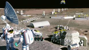 Une colonie sur la Lune.