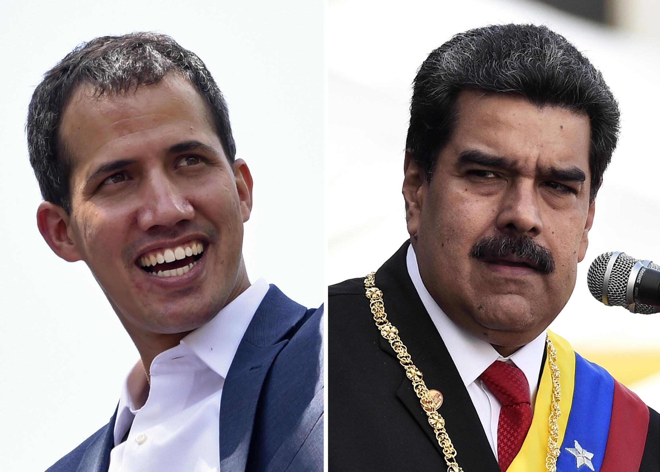 (ARCHIVOS) Esta combinación de archivos de imágenes creadas el 4 de febrero de 2019 muestra al líder de la oposición venezolana Juan Guaido (I) sonriendo durante una reunión con sus partidarios en Caracas el 2 de febrero de 2019 y otra del presidente venezolano Nicolás Maduro pronunciando un discurso durante la ceremonia de reconocimiento de la Fuerza Armada Nacional Bolivariana (FANB) en el Complejo Militar Fuerte Tiuna en Caracas el 10 de enero de 2019.