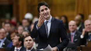 Le Premier ministre canadien Justin Trudeau lors d'un discours à la Chambre des communes, le 3 décembre 2015.