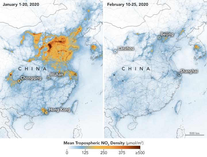 Imagen satelital comparativa que muestra la reducción en las emisiones de nitrógeno en China entre el 1 de enero de 2020 y febrero del mismo año.