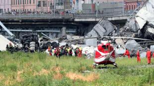 El puente de Morandi derrumbado en la ciudad italiana de Génova el 14 de agosto de 2018.