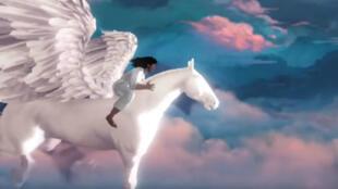 """Kanye West dévoile le trailer de son jeu vidéo """"Only One"""" à l'E3, en juin 2016."""