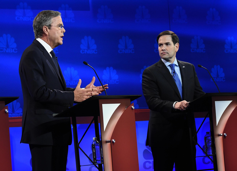 Jeb Bush, lors du troisième débat des primaires républicaines, et Marco Rubio, le 28 octobre.