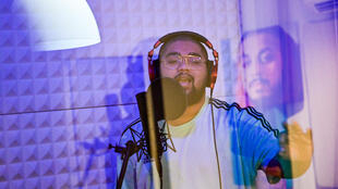 Emirati rapper Saud Waled Ibrahim, better known as SG, records a track in his studio in Ajman in the United Arab Emirates