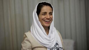 Nasrin Sotoudeh après sa libération le 18 septembre 2013, à la suite de trois années d'emprisonnement à Téhéran en Iran.