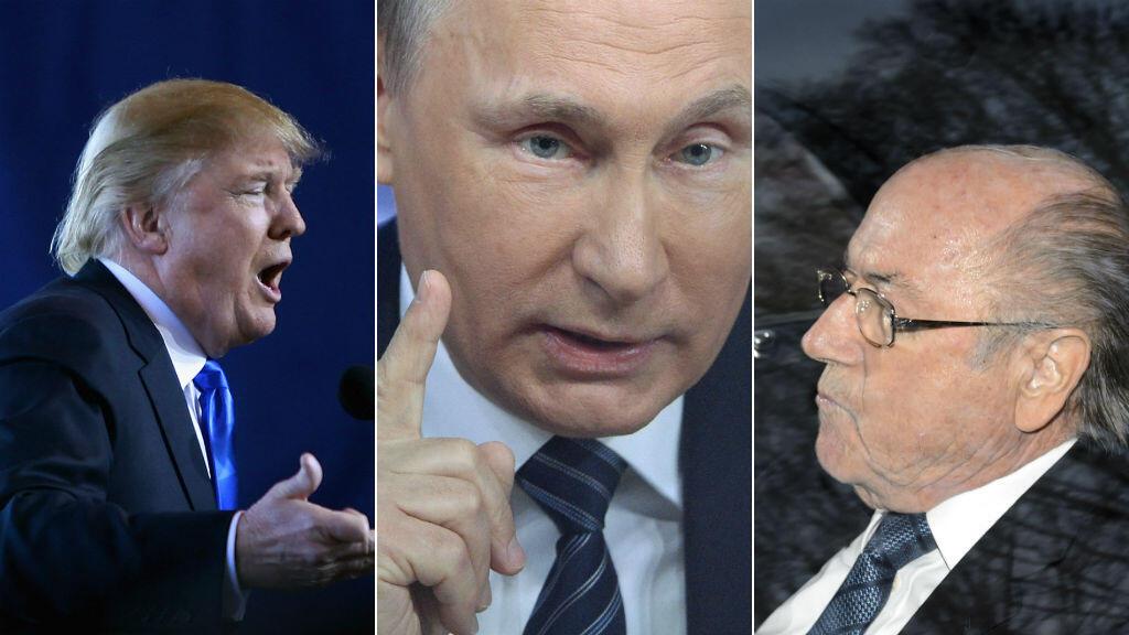 De gauche à droite, Donald Trump, Vladimir Poutine et Sepp Blatter.