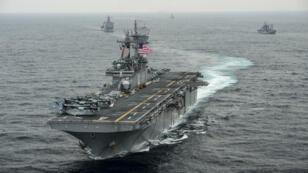 Le navire USS Boxer, en mars 2016.