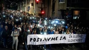 Up to five thousands of Slovak protesters attend a gathering 'For Decent Slovakia' on September 28, 2018 in Bratislava, Slovakia, seven months after the murder of Slovak investigative journalist Jan Kuciak and his fiance Martina Kusnirova