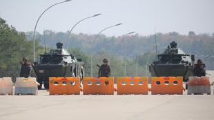 A military checkpoint on the way to the congress compound in Naypyitaw, Myanmar, February 1, 2021.