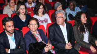 حمة الهمامي وراضية النصراوي خلال إحدى عروض أيام قرطاج السينمائية