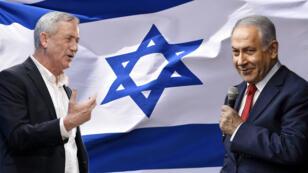Benny Gantz (izquierda) es el más fuerte oponente del primer ministro Benjamin Netanyahu (derecha) en las elecciones legislativas del 9 de abril de 2019.