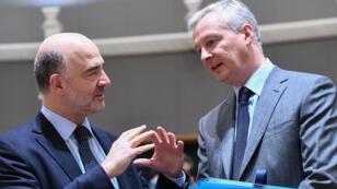 Le commissaire européen aux Affaires économiques, Pierre Moscovici, et le ministre français de l'Économie, Bruno Le Maire, le 13 mars 2018, à Bruxelles.