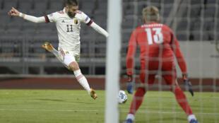 Le milieu belge Yannick Ferreira-Carrasco s'apprête à tirer lors du match de Ligue des nations face à l'Islande, à Reykjavik, le 14 octobre 2020