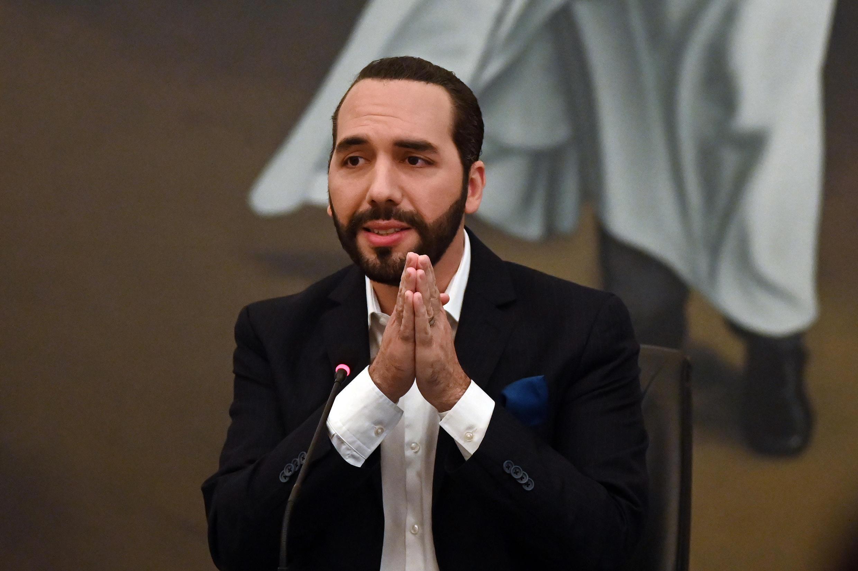 El presidente de El Salvador, Nayib Bukele, durante un acto en la casa presidencial, el 22 de febrero en San Salvador