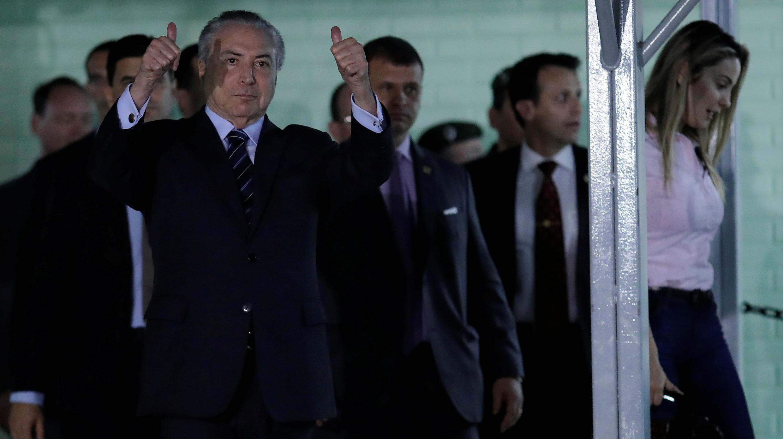 Presidente de Brasil Michel Temer deja el hospital en Brasilia, Brasil, Octubre 25 de 2017