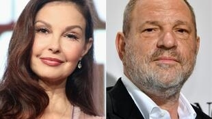 (COMBO) This combination of pictures created on July 18, 2018 shows US actress Ashley Judd (L) and disgraced film producer Harvey Weinstein