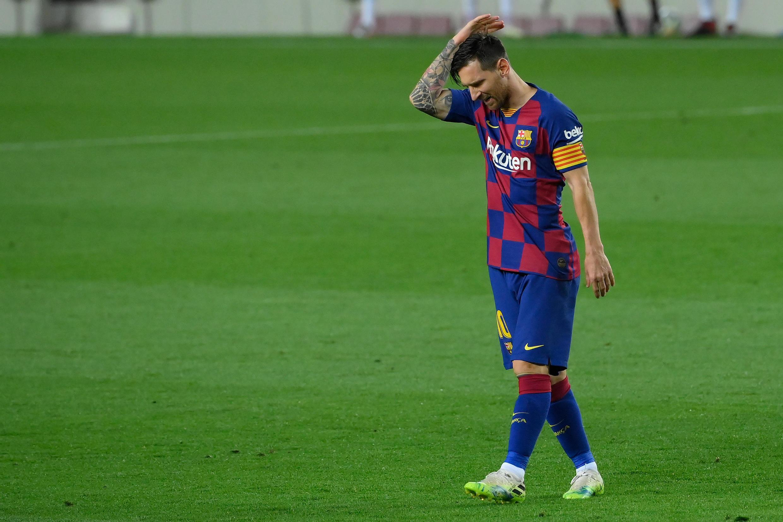 Lionel Messi, la star argentine du FC Barcelone, contre Osasuna en Liga, au Camp Nou, le 16 juillet 2020.