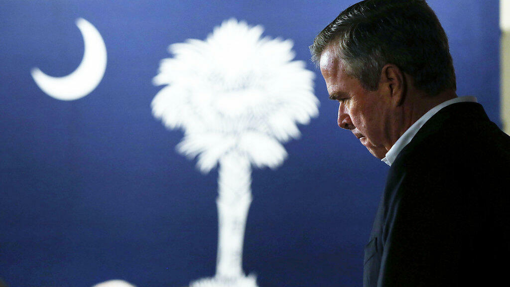Jeb Bush lors de son discours de retrait de la campagne électorale, samedi 20 février 2016 en Caroline du Sud.