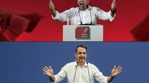Greek Prime Minister and leader of the Syriza party, Alexis Tsipras (top) is battling for political survival in the July 7 vote against conservative challenger and New Democracy party leader Kyriakos Mitsotakis