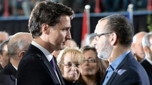 رئيس الوزراء الكندي جاستن ترودو يشارك في تشييع ثلاثة من القتلى الستة الذي سقطوا في الاعتداء على المسجد في كيبيك في 2 شباط/فبراير 2017