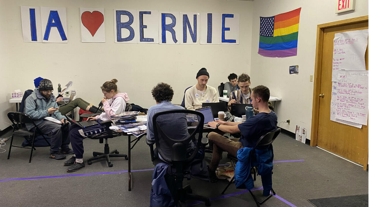 A Bernie Sander's campaign field office in Des Moines, Iowa, February 3rd 2020.