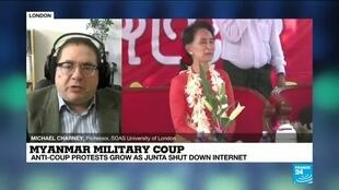 2021-02-06 15:00 Myanmar coup: Internet shutdown as crowds protest against military