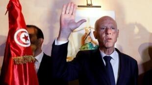 الرئيس التونسي المنتخب قيس سعيّد. 13 أكتوبر/تشرين الأول 2019.