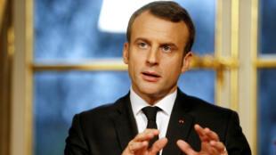 Emmanuel Macron, samedi 30 décembre 2017, à l'Élysée.
