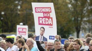 Un meeting du parti des Démocrates de Suède (SD), parti anti-immigration, le 6 septembre 2018 à Motala, dans le centre du pays.