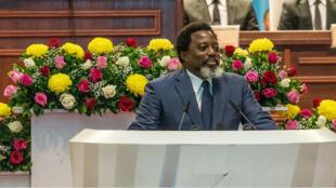 Joseph Kabila, lors de son discours sur l'état de la nation au parlement, le 19 juilet 2018.