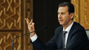 Bachar al-Assad au congrès du Baath, le 7 octobre 2018 à Damas.