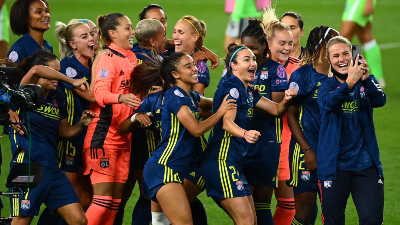 Les joueuses de l'Olympique Lyonnais ont remporté leur septième Ligue des champions, face aux Allemandes de Wolfsburg (3-1), le 30 août 2020.
