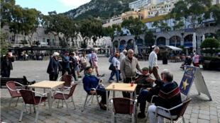 Une terrasse de café à Gibraltar, le 24novembre2018.