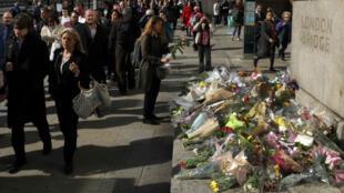البريطانيون يضعون الزهور على جسر لندن تكريما لضحايا اعتداءات لندن 5 حزيران/يونيو 2017