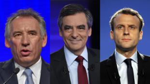 François Bayrou, François Fillon et Emmanuel Macron pourraient tous les trois tenter de recueillir les voix des électeurs centristes lors de la présidentielle de 2017.