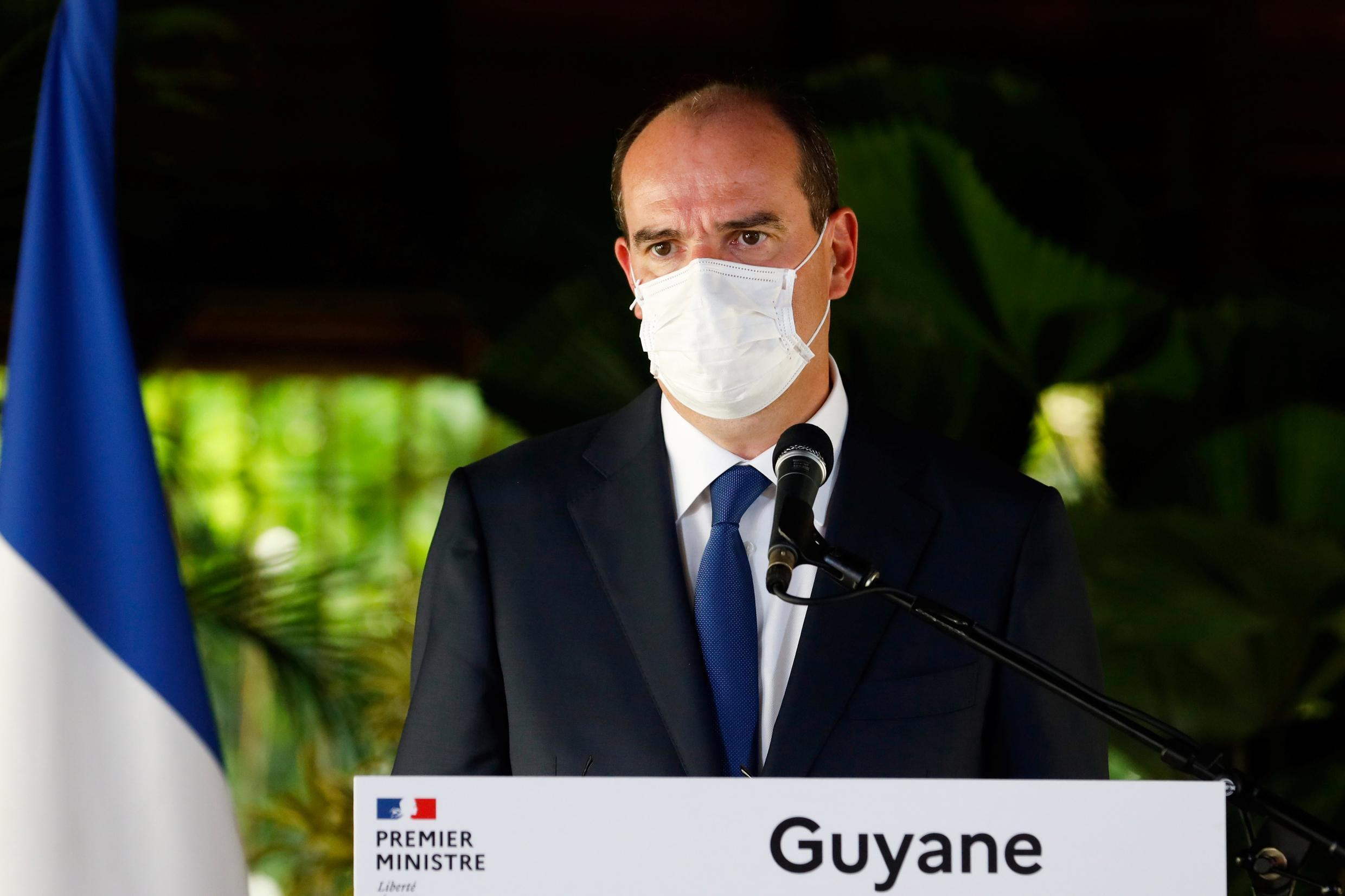 French Prime Minister Jean Castex during a visit to Cayenne, in the French overseas department of Guiana, on July 12, 2020.