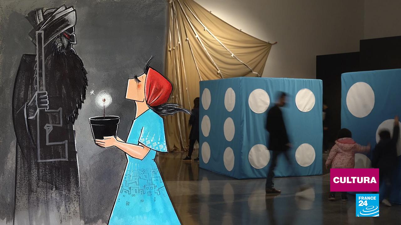 A la izquierda, una de las más icónicas ilustraciones de la artista callejera afgana Shamsia; a la derecha, los dados del creador japonés Yutaka Stone, centro de una muestra en el Museo Franklin Rawson de San Juan, Argentina.