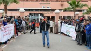 Des Marocains manifestent contre l'homosexualité à Beni Mellal, au Maroc, le 11 avril 2016.