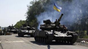 Une colonne de chars de l'armée ukrainienne dans la région de Donetsk.