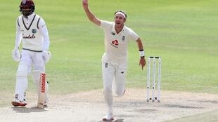 Magic moment - England's Stuart Broad celebrates dismissing West Indies' Kraigg Brathwaite for his 500th Test wicket on the final day of the third Test between England and the West Indies at Old Trafford on Tuesday