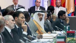 Les ministres de l'Énergie rassemblés à la 176e conférence des pays de l'Opep, le 1er juillet, à Vienne, en Autriche.