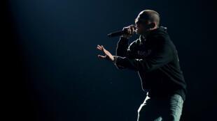 L'artiste Logic sur la scene du Madison Square Garden, le 28 janvier à New York.