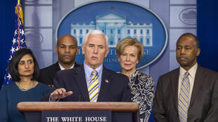 US Vice President Mike Pence speaks in the press briefing room at the White House on March 14, 2020, in Washington, D.C.