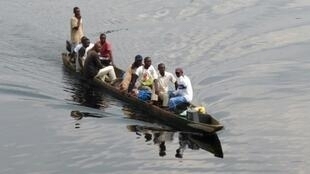 File picture of a motorised canoe, also called a pirogue, which is widely used to transport people and goods in DR Congo. Accidents are common, often due to overloading