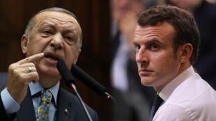 El presidente de Turquía, Recep Tayyip Erdogan y Emmanuel Macron, presidente de Francia, chocan por la situación de la OTAN y su rol en Siria