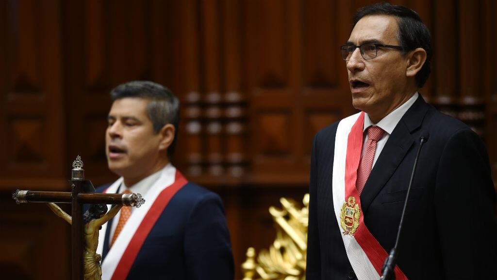 Le premier vice-président péruvien Martin Vizcarra lors de sa prise de fonction, vendredi 23 mars 2018.