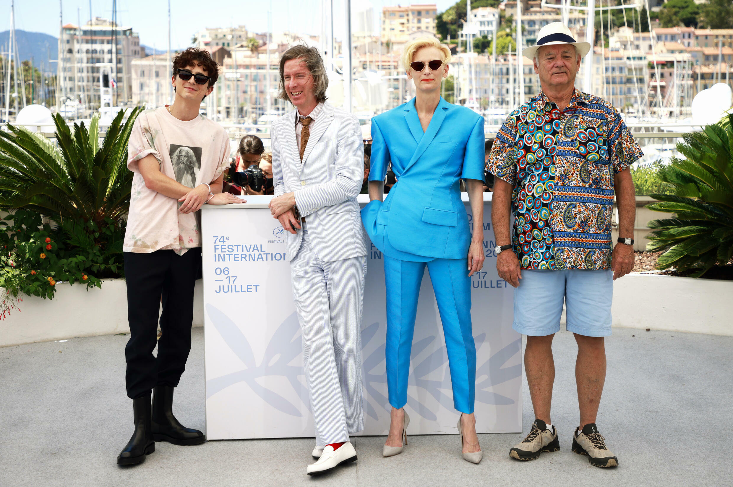 """""""The French Dispatch"""" director Wes Anderson (second from left) with actors Timothée Chalamet, Tilda Swinton and Bill Murray."""
