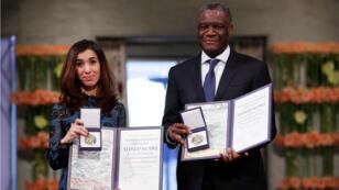Nadia Murad y Denis Mukwege recibieron el premio Nobel de Paz en Oslo, Noruega. 10 de diciembre de 2018.